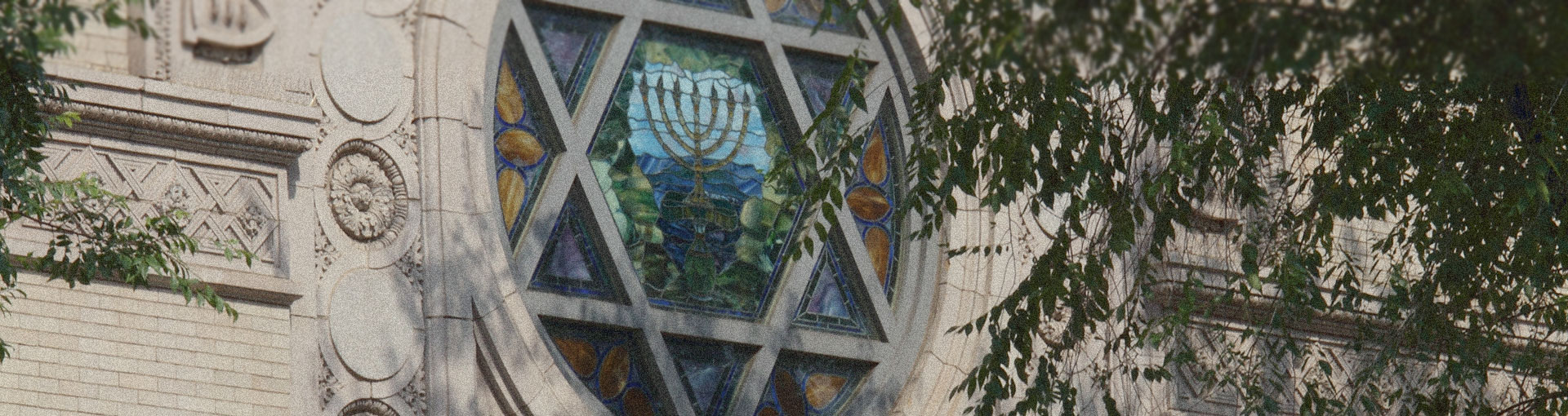 Exterior of Jewish Synagogue with Star of David in Stained Glass Window